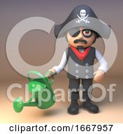 3d Cartoon Pirate Captain Character With Watering Can 3d Illustration by Steve Young