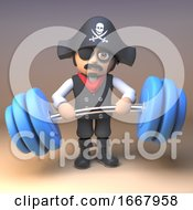 3d Cartoon Pirate Captain Character Lifting Some Heavy Weights 3d Illustration