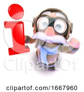 3d Funny Cartoon Pilot Airman Character Holding An Information Symbol