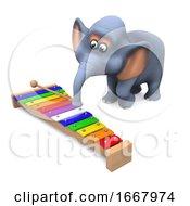 3d Elephant Plays The Xylophone