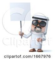 3d Arab Has A Blank Placard