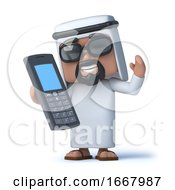 3d Arab Chats On His Cellphone