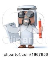 3d Arab Has A Notepad And Pencil