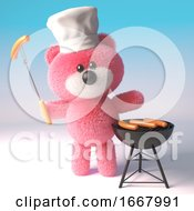 3d Pink Teddy Bear In Chefs Hat Cooking A Barbecue Bbq 3d Illustration