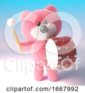 3d Teddy Bear With Pink Fuffy Fur Banging On A Bass Drum 3d Illustration