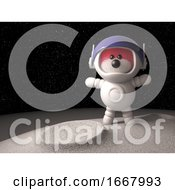 3d Teddy Bear With Pink Fur Exploring The Moon In A Spacesuit 3d Illustration