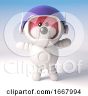 3d Pink Fluffy Teddy Bear Cartoon Character Wearing A Spacesuit 3d Illustration