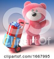 Pink 3d Teddy Bear Character Delivering Gift Wrapped Presents On A Hand Cart Trolley 3d Illustration