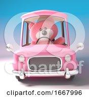 3d Pink Teddy Bear Character Driving A Pink Cartoon Car 3d Illustration