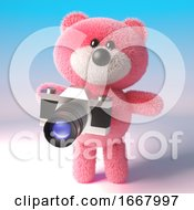 3d Cute Pink Teddy Bear Character Taking A Photo With An Old Camera 3d Illustration