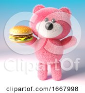 3d Pink Teddy Bear With Fluffy Fur Eating A Cheese Burger Snack 3d Illustration