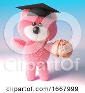 3d Teddy Bear With Pink Fluffy Fur Wearing A Mortar Board And Holding A Human Brain 3d Illustration