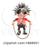 3d Punk Rock Cartoon Character Skipping With A Skipping Rope 3d Illustration