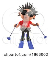 3d Punk Rock Cartoon Character Skiing On Skis 3d Illustration