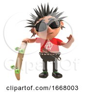 3d Punk Rock Cartoon Character Holding A Skateboard 3d Illustration