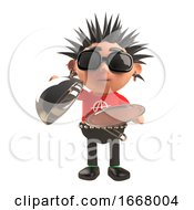 3d Punk Rock Cartoon Character Holding A Silver Service Tray And Lid 3d Illustration