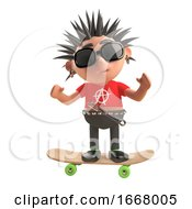 3d Punk Rock Cartoon Character Standing On A Skateboard 3d Illustration