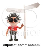 3d Punk Rock Cartoon Character Standing Next To A Blank Crossroads Sign 3d Illustration