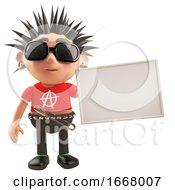 3d Punk Rock Cartoon Character With Spikey Hair Holding A Blank Placard 3d Illustration