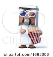 Poster, Art Print Of 3d Arab Watches A 3d Movie While Eating Popcorn
