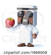 3d Arab Eats An Apple