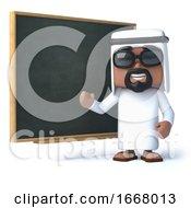 3d Arab Stands At The Blackboard
