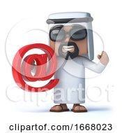 Poster, Art Print Of 3d Arab Sheik Holds An Email Address Symbol