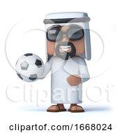3d Arab Sheik Holds A Football