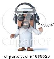 3d Arab Wearing Headphones