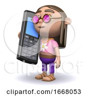 3d Hippy Chats On His Cellphone