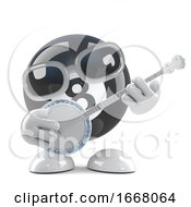 3d Cartoon Eight Ball Character Plays The Ukulele