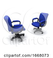 3d Two Office Chairs Facing Each Other