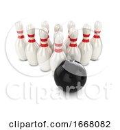 3d Bowling Ball Hits Pins