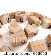 3d Cardboard Boxes On Curved Surface