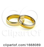 Poster, Art Print Of 3d Pair Of Gold Engagement Rings