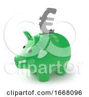 3d Green Piggy Bank With Euro Symbol
