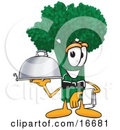 Clipart Picture Of A Green Broccoli Food Mascot Cartoon Character Serving A Dinner Platter While Waiting Tables In A Restaurant by Toons4Biz