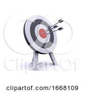3d Arrows Hit Bullseye