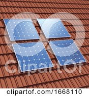 3d Solar Panels On Rooftop