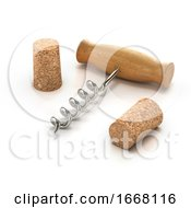 3d Corkscrew And Wine Corks