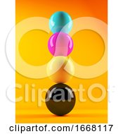 3d Stack Of CMYK Coloured Spheres