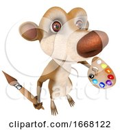 Poster, Art Print Of 3d Funny Cartoon Rat Char Marsupial Character Painting With A Paintbrush