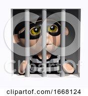 Poster, Art Print Of 3d Burglar Behind Bars