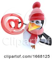 Poster, Art Print Of 3d Fun Winter Penguin Holding An Email Address Symbol