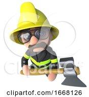 Funny 3d Cartoon Firefighter Fireman Character Holding An Axe