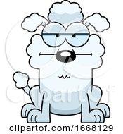 Cartoon Bored White Poodle Dog
