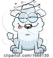 Cartoon Drunk White Poodle Dog