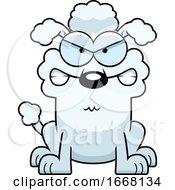 Cartoon Mad White Poodle Dog