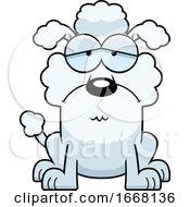 Cartoon Sad White Poodle Dog