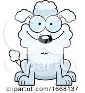 Cartoon Happy White Poodle Dog